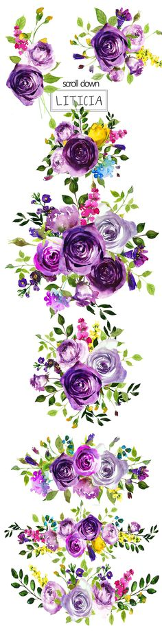 Purple Flowers Watercolor Bouquets by whiteheartdesign on @creativemarket