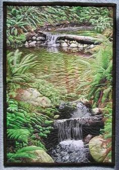 Waterfall landscape quilt