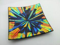 ian chadwick glass art — Small kiln formed,dichroic glass pin dish fresh...