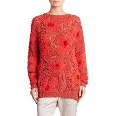 Brunello Cucinelli Embroidered Intarsia Sweater (12.740 RON) ❤ liked on Polyvore featuring tops, sweaters, apparel & accessories, neon poppy, sweater pullover, red top, embroidery top, intarsia sweater and neon tops