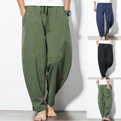 Men's Casual Fashion Loose Cotton Linen Pure Color Pocket Comfort Long Pant Mens Linen Outfits, Linen Pants Outfit, Cropped Trousers Men, Cargo Pants Men, Wide Leg Linen Pants, Linen Trousers, Mens Sweatpants, Fashion Pants, Men's Fashion