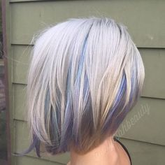 Hair and Beauty: platinum bob with pastel highlights More