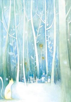 Winter Illustration, Nature Illustration, Digital Illustration, Orange Wall Art, Christmas Artwork, Illustrations And Posters, Cat Art, Book Art, Drawings