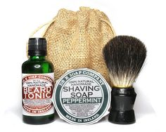 Goatee Man Gift Set, Gift For Him, Natural Beard Oil, Shaving Soap, Shaving Brush via Etsy  I bought this for my husband and it is great. He loves it. It leaves his beard soft and smelling great.
