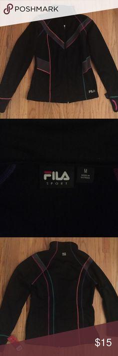 Filas running jacket Filas size medium long sleeve running jacket. Zipper front, black with pink, purple, and teal detailing Fila Tops Sweatshirts & Hoodies