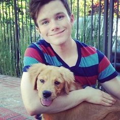 Chris Colfer tweets- I adopted a puppy from the Southern California Golden Retriever Rescue! Meet Cooper!