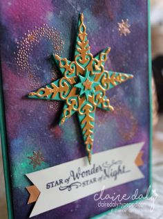 Stampin Up Star of Light Bundle (from 2016 Holiday Catalogue) on galaxy background. 2016 Christmas Card by Caire Daly Stampin Up Demonstrator Melbourne Australia