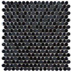 Galaxy Penny Round Black 11-1/4 in. x 11-3/4 in. x 9 mm Porcelain Mosaic Tile