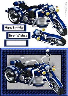 """Beautiful Blue Motorbike on Craftsuprint designed by Amy Perry - Beautiful Blue Motorbike in lovely blue woven frame, also has decoupage and choice of tag """"Happy Birthday"""" """"Best Wishes"""" and a blank tag for your own sentiment. Happy Birthday Best Wishes, Motos Vintage, Steampunk Clock, Boy Cards, Fathers Day Crafts, 3d Prints, Birthday Cards For Men, Decoupage Paper, Card Patterns"""