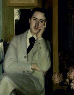 Jacques Emile BLANCHE (1861 - 1942)    Portrait d'André Gide ou André Gide à 21 ans, vers 1890 Huile sur toile, signée en bas à droite 107 x 73 cm