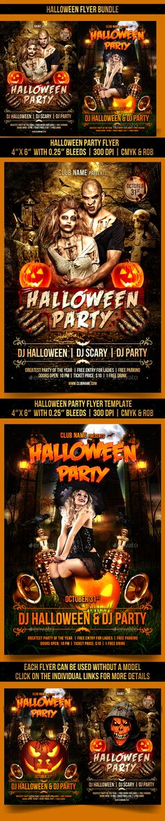 Halloween Flyer Bundle Template PSD #design Download: http://graphicriver.net/item/halloween-flyer-bundle/13036572?ref=ksioks