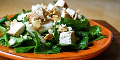 Chicken and Pear Salad with Walnuts and Feta