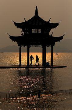 ~ Moonlight on a pagoda at Xi Hu (West Lake) China ~