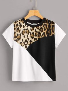 To find out about the Leopard Panel Colorblock Tee at SHEIN, part of our latest T-Shirts ready to shop online today! Sewing Clothes, Diy Clothes, Clothes For Women, Blouse Styles, Blouse Designs, Latest T Shirt, Indian Designer Outfits, T Shirt Diy, Shirt Blouses