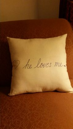He/she Loves me throw pillows...great for Weddings (Communion pillows), Anniversaries, Valentine's day, or Birthday's!