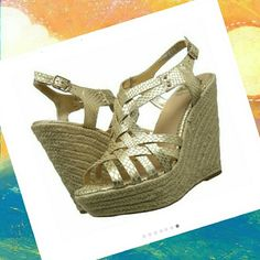 Fergalicious Women's Caprinni Espadrille Sandal Flirt with new confidence in the Fergalicious Caprinni wedge sandal. The embossed faux leather upper of this women's open-toe sandal features playful crisscrossing straps for airy style. An open toe makes it easy to show off your pedicure. NEW!!! Fergalicious Shoes Wedges
