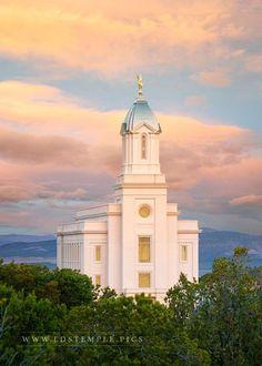 Cedar City Temple Spring Sunrise - A peaceful spring sunrise at the Cedar City Utah Temple.