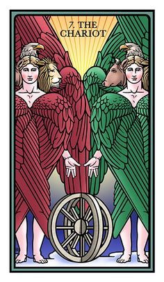 VII. The Chariot - The Raziel Tarot by Robert M. Place and Rachel Pollack