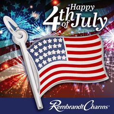 The American Flag Charm has red, white and blue paint on the front.  God Bless America, Land of the Free, Home of the Brave. Happy 4 Of July, 4th Of July, Home Of The Brave, Birthstone Charms, Rembrandt, Usa Flag, American Flag, Birthstones, Red And White