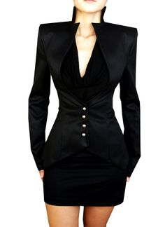 I imagine Regina from #OnceUponATime would wear this! #obsessedwithprogress  Professional Business Suits for Women - Black Slim Business Suits for Women http://www.loveitsomuch.com/