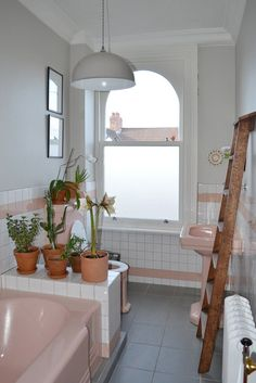 With all this buzz around pink bathroom concept and pastel colors for bathroom tile and fixtures are we going back into the fifties and sixties? You can if you want to. But you don't have to use old retro materials if you want a pink bathroom or pastels.