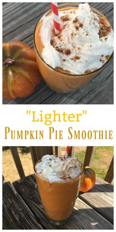 """If you are a pumpkin lover, try a delicious """"Lighter"""" Pumpkin Pie Smoothie! It's filling, tasty and ready in just a few minutes."""
