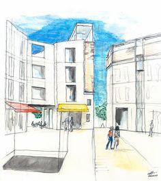 estudo para um quarteirão em Telheiras, Lisboa,2009 Study for a mixed use block in Telheiras, Lisbon, 2009