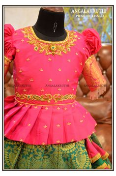 Kids Lehanga Design, Girls Frock Design, Kids Frocks Design, Baby Frocks Designs, Peacock Blouse Designs, Kids Blouse Designs, Half Saree Designs, Bridal Blouse Designs, Stylish Dresses For Girls