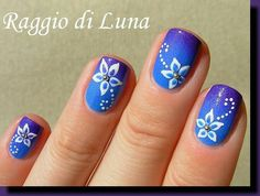 Blue and purple ombre floral