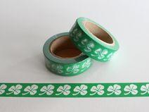 """1 x Masking Washi Tape """"KLEEBLATT GRÜN/WEISS"""""""