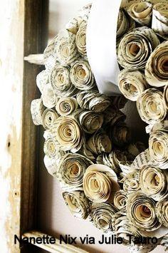 newspaper flower wreath