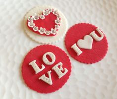 Valentine Fondant Cupcake Cookie Toppers by LIVCreativity on Etsy, $18.00