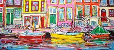 Nu in de #Catawiki veilingen: Mathias - Canal of Amsterdam, yellow boat