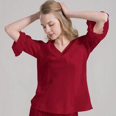 Top Quality mulberry silk womens pajamas top, ladies pj top, superbly skin soft, breathable and comfortable! Silk Sleepwear, Silk Pajamas, Nightwear, Silk Chemise, Silk Nightgown, Mulberry Silk, Pajamas Women, Silk Top, Night Gown