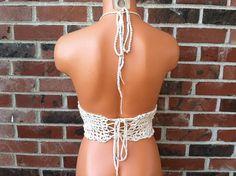 Vikni Crochet Festival Hippie Halter Top Nude Tan Crochet by vikni