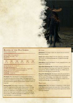 Keeper of the Old Lords Dungeons And Dragons Rules, Dungeons And Dragons Homebrew, Dungeons And Dragons Characters, Dnd Characters, Fantasy Creatures, Mythical Creatures, Dnd Stats, Dnd 5e Homebrew, Dragon Rpg