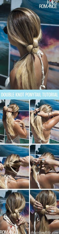 The Double Knot Ponytail Tutorial Hair Romance - This Island Life - Tutoriel sur la coiffure en queu Knot Ponytail, Ponytail Hairstyles Tutorial, Ponytail Tutorial, Pretty Hairstyles, Easy Hairstyles, Twisted Ponytail, Ponytail Ideas, Hair Knot, Braided Updo