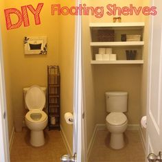 This is the best one for us, use mdf sheet for all pieces, cut the front trim piece a little wider than these folks did for a heftier look, say 21/2 or 3 inches to give the floating look and hide any underneath supports. I just want two shelves spaced far apart so it will hold a whole case of toilet paper. Not going for decor, just storage!