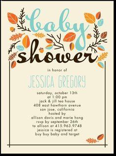 Fall 'baby shower' invitation.