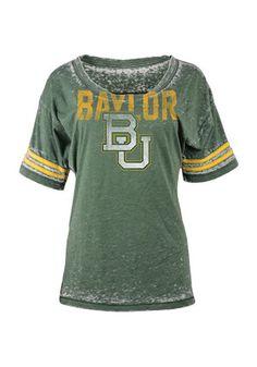 Baylor Womens Burnout Green Scoop T-Shirt