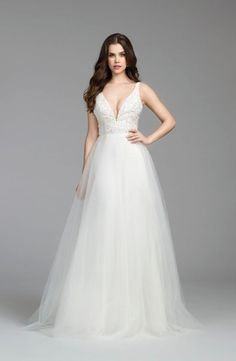 V-Neck A-Line Wedding Dress  with Natural Waist in Beaded Embroidery. Bridal Gown Style Number:33466566