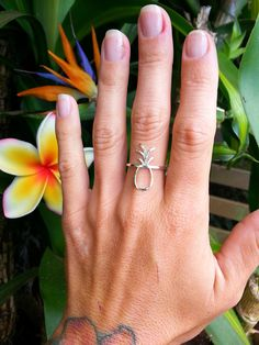 Pineapple Ring, Hammered Pineapple Ring, pineapple outline ring, Sterling Silver Pineapple Ring, 14K Gold Fill, $50 Pineapple Jewelry by KaHokuKai on Etsy