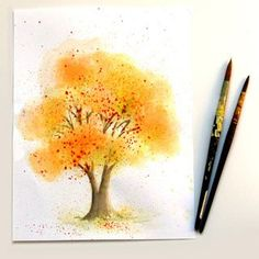 How to paint a beautiful watercolor tree in fall colors with fun, unusual & easy watercolor painting techniques in this step by step tutorial, great for beginners! - A Piece of Rainbow