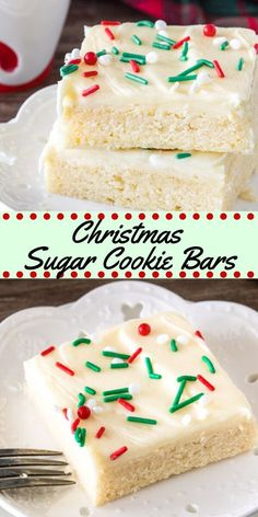Save time this holiday season with these easy Christmas sugar cookie bars. They're extra soft with a thick layer of frosting. Way easier than sugar cookies!