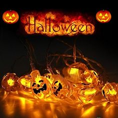 LENDOO Halloween Decoration String Lights 66 Feet  20 LED Pumpkin String Lights Battery Operated LED Light for Outdoor Home Patio Garden -- This is an Amazon Affiliate link. Want additional info? Click on the image.