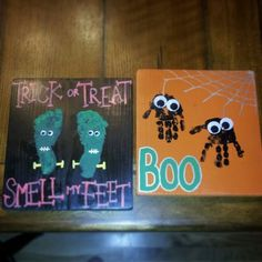 Footprint/handprint Halloween kid crafts by nannie (I want to paint the background and make a styrofoam spider with black piper cleaner legs and glue them to the canvas. Theme Halloween, Halloween Crafts For Kids, Easy Crafts For Kids, Halloween Projects, Holidays Halloween, Crafts To Do, Halloween Decorations, Art For Kids, Halloween Painting