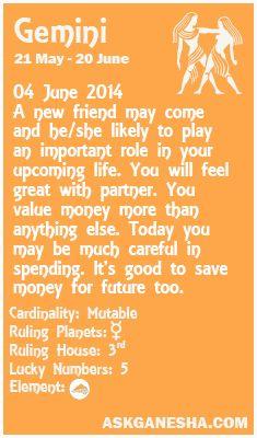 Gemini Daily horoscope for 04th June 2014.