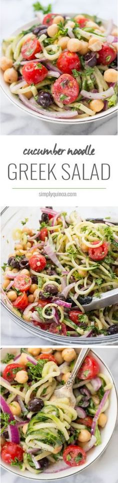 CUCUMBER NOODLE GREEK SALAD -- a refreshing twist on a traditional salad! [vegan + dairy-free]