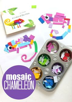 This fine motor mosaic craft for preschool is a great way to extend the experience of reading Leo Lionni's A Color of His Own.