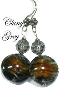tiger striped lampwork beads make up these lampwork earrings